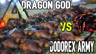 getlinkyoutube.com-Ark Survival Evolved - Dragon God vs 50 DodoRex(s), KingKong, Mega Raptors,  Mega Spiders - Gameplay