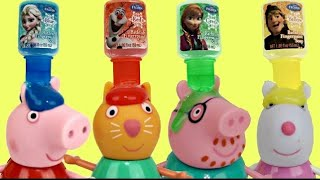 getlinkyoutube.com-Nick Jr. Peppa Pig BATH PAINT Fun, Disney Frozen Learn Colors, Tub Toy Surpises George Bubbles  TUYC