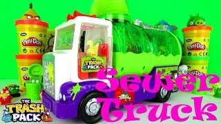 getlinkyoutube.com-TRASH PACK Sewer Truck Playset vs ANGRY BIRDS & MINIONS PLAY DOH Toy Review Family Video