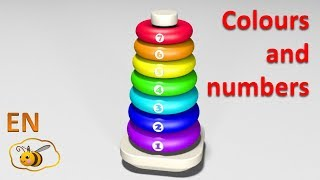 getlinkyoutube.com-Learn colors and numbers for kids in English. Ring stacker. Cartoons for babies 1 year.