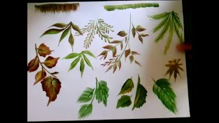getlinkyoutube.com-single brush:10 types of leaves, onestroke Acrylic painting