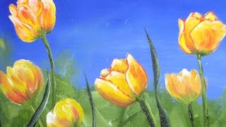 getlinkyoutube.com-How to Paint Tulips in Acrylic Real Time Free Class
