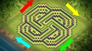 """New """"UNBEATABLE"""" Town hall 9 Base Layout (CoC Th9) Best Trophy Pushing Base 2017 