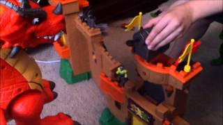getlinkyoutube.com-Imaginext RED DRAGON & EAGLE CASTLE TOY Review
