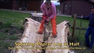 getlinkyoutube.com-Splitting Massive Poplar Log in Half