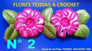 getlinkyoutube.com-Flor tejida a crochet paso a paso # 2, para adorno de ponchos, gorros y bolsos.