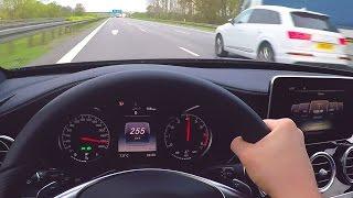 Mercedes C450 AMG Onboard Autobahn Driver View V6 Biturbo Sound W205 C43 AMG Acceleration