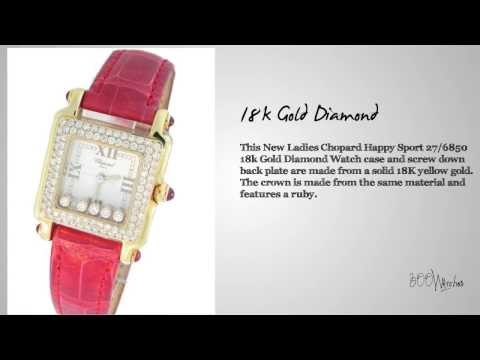 Chopard Happy Sport 27 6850 18K Gold Diamond Watch