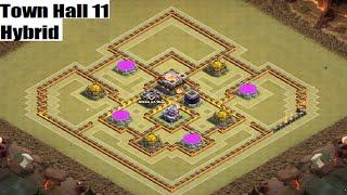 getlinkyoutube.com-TH11 Hybrid Base Perfect Loot Balance  - Clash of Clans