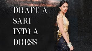 getlinkyoutube.com-Little Black Sari - Drape a sari into a dress
