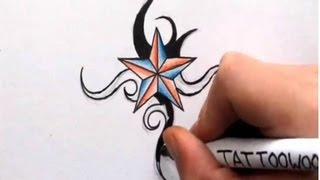 getlinkyoutube.com-How To Draw a Nautical Star - Shading in Color and Tribal Design