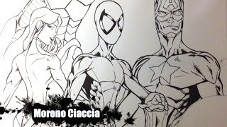 getlinkyoutube.com-Speed Inking Spiderman, Ironman and Capitan America [Prodigy edition]