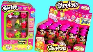 getlinkyoutube.com-Box of Shopkins Surprise Eggs NEW Toys Using Shopkins Vending Machine Storage Tin Review