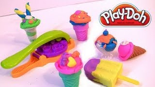 getlinkyoutube.com-Play doh Scoops 'n Treats DIY Ice Cream Cones, Popsicles, Sundaes, Waffles Play Dough Desserts