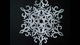 getlinkyoutube.com-how to make paper snowflake | 5 beautiful snowflake pattern for Christmas | easy paper cutting art
