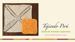 getlinkyoutube.com-Cuadrado sin fin con piñas tejido a crochet