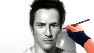 Drawing Keanu Reeves / Neo Art Video - From live stream
