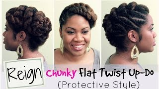 R: Reign | Protective Style and Flat Twist Updo on Natural Hair | Naturally Michy