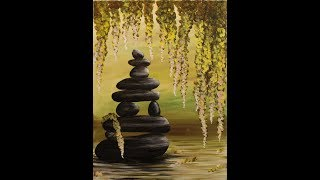 getlinkyoutube.com-Zen Pond Step by Step Acrylic Painting on Canvas for Beginners