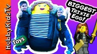 getlinkyoutube.com-Worlds BIGGEST Trixie Surprise LEGO Egg! Nerf TOYS + Police Arrest by HobbyKidsTV