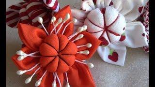 getlinkyoutube.com-D.I.Y. Flor de  tecido com miolo acochoado - HOW TO MAKE ROLLED RIBBON ROSES- fabric flowers