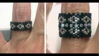 getlinkyoutube.com-Beading4perfectionists : Peyote ring with miyuki and swarovski beads beadng tutorial