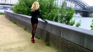 getlinkyoutube.com-Blonde milf walking in sexy pantyhose and red high heels