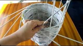 getlinkyoutube.com-Jak zrobić wazon/doniczkę z wikliny papierowej Instrukcja