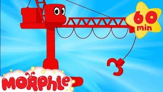 getlinkyoutube.com-My Red Crane  (+1 hour Morphle kids videos compilation with cars, trucks, bus etc)