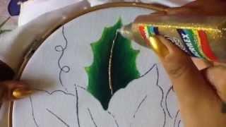 getlinkyoutube.com-Pintura en tela hoja de nochebuena azul #1 con cony