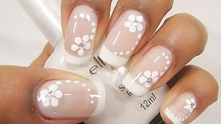getlinkyoutube.com-Unhas Decoradas Francesinha com Flores