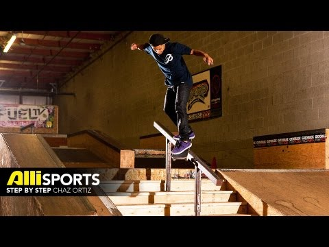 Chaz Ortiz Skateboard Trick Tip Backside Smith Grind, Alli Sports Step By Step