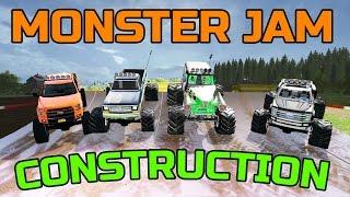 MONSTER JAM CONSTRUCTION | MULTIPLAYER | JUMP + EXPANDING TRACK!