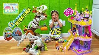 getlinkyoutube.com-BIGGEST DINOSAUR TOY EVER ULTRA T-REX vs MLP Kinder Surprise Egg SpiderMan Surprise Egg Toys Playing