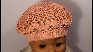 getlinkyoutube.com-Как связать детский летний берет крючком.How to crochet beret #crochet_beret Вяжем по схемам
