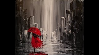getlinkyoutube.com-A Walk in the Rain Step by Step Acrylic Painting on Canvas for Beginners