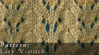 getlinkyoutube.com-Lacy V-stitch  |  Knit Pattern  |  Easy