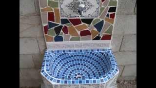 getlinkyoutube.com-Fuente pileta fregadero aguamanil grifo de jardin con trencadis