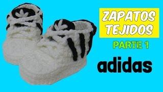 getlinkyoutube.com-Zapatitos adidas tejidos a crochet 3-6 meses  | parte 1/2