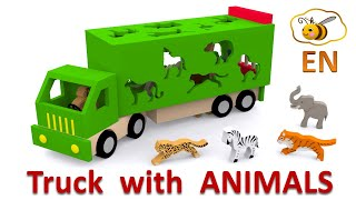 getlinkyoutube.com-Trucks for children. Learn wild animals in English! Cartoons for babies 1 year
