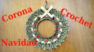 getlinkyoutube.com-Como hacer una Corona en tejido crochet para Navidad tutorial paso a paso.
