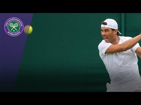 Rafael Nadal warms up with Sascha Zverev at Wimbledon 2017
