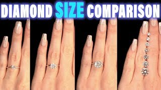 Diamond Size Comparison on Hand Finger Carat 1 2 3 4 0.5 ct 0.25 0.75 1.5 0.3 0.8 0.7 0.6 0.4 .9 1/2