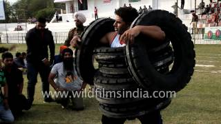 getlinkyoutube.com-Wearing tyres? No, its a tyre lifting competition in India
