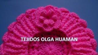 getlinkyoutube.com-Flor tejido a crochet para boina de bebe o niña
