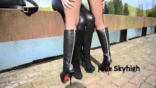 Kissing my friends boots in leather jacket with big fox fur collar: bootsfetish & furfetish