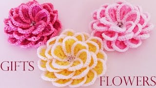 getlinkyoutube.com-Como tejer  fácil y rápido flores en una sola tira- Make creates  beautiful flowers cute gifts