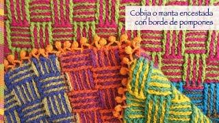 getlinkyoutube.com-Crochet: ¡Cobija o manta llena de color tejida en punto cesta con borde de pompones!
