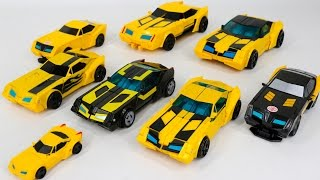 getlinkyoutube.com-Transformers RID Adventure Black Knight Bumblebee and Yellow  Bumblebee 8 Vehicles Robot Car Toys