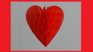 getlinkyoutube.com-How to make paper honeycomb heart - DIY Valentine's day craft